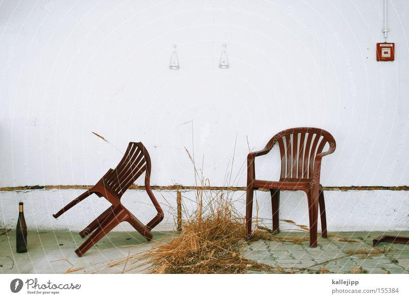 binge Chair Bottle Broken Meeting Fire alarm Warn Alcohol-fueled Bushes Grass Dried Shriveled Garden chair sitting round binge drinking