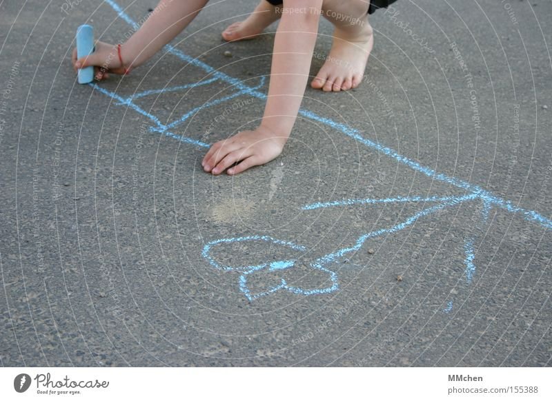 barefoot painting Child Chalk Street Playing Painting and drawing (object) Draw Barefoot Summer Flower Blue Asphalt Stick figure Hand Feet