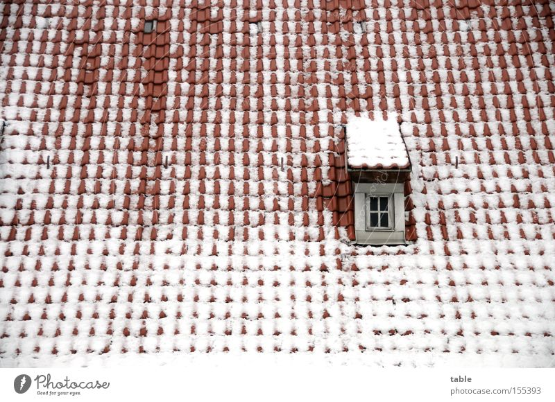 Old White Red Winter Cold Snow Emotions Window Architecture Glass Crazy Roof Village Window pane Roofing tile Dormer