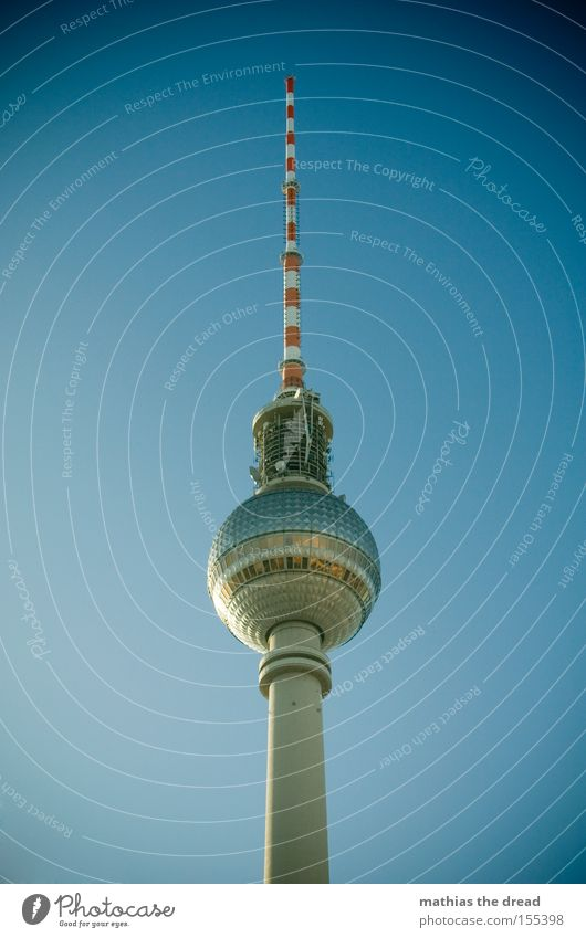 Big Brother Berlin TV Tower Television tower Transmitting station Alexanderplatz Downtown Berlin Landmark Tall Sphere Mystic Blue Beautiful Idyll Sky Silhouette