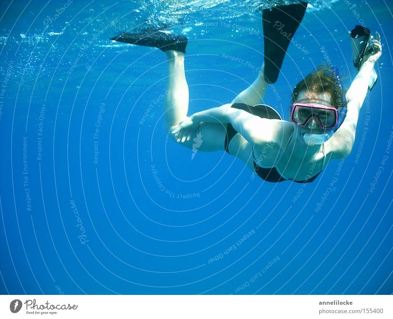 Woman Youth (Young adults) Water Beautiful Ocean Blue Summer Vacation & Travel Sports Feminine Underwater photo Waves Coast Adults Leisure and hobbies
