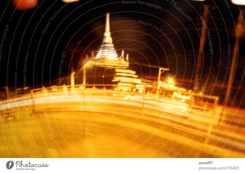 Bangbangkok Night shot Temple Light Blur Long exposure Bangkok Asia