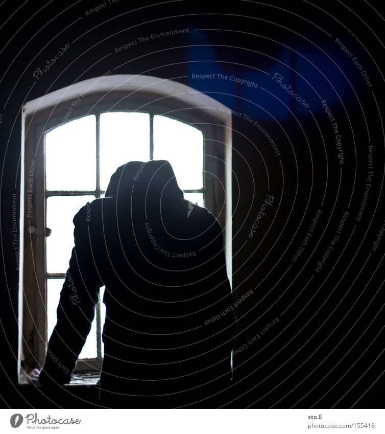 Human being White Black Loneliness Dark Window Dirty Glass Vantage point Observe Derelict Shabby Window pane Slice