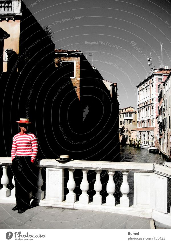 Man Vacation & Travel Calm Italy Wait Bridge Hat Venice Channel City trip Gondolier
