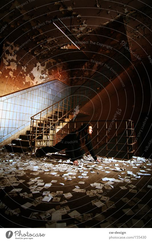 Human being Man Old Playing Floor covering Ground Posture Derelict Watchfulness Chaos Staircase (Hallway) Boredom Hallway Crawl Confetti Animal