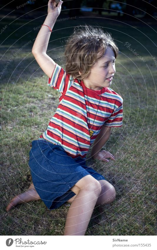 Human being Child Youth (Young adults) Beautiful Grass Playing Boy (child) Park Sit Free Safety Education Striped Easygoing Uninhibited