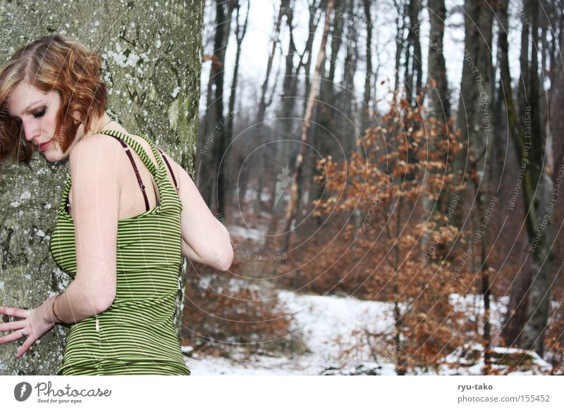 The one with the green dress 2 Woman Forest Winter Cold Green Dress Tree Leaf White Freeze
