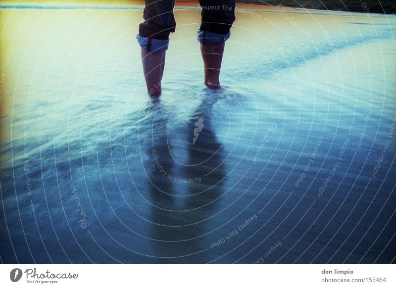 Water Ocean Beach Colour Cold Legs Jeans Analog Foot bath