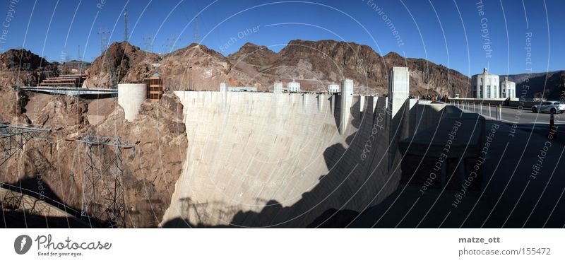 Hoover Dam Panorama USA Panorama (View) Americas Nevada Arizona Reservoir Lake Landscape Nature Concrete Manmade structures Historic hoover Large