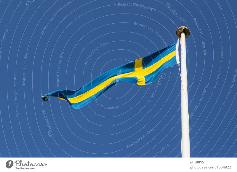 Swedish Flag Summer Feasts & Celebrations Earth Sky Clouds Wind Thin Long Blue Independence Europe Sweden Blue sky cloudscape cross shape cut out Flagpole