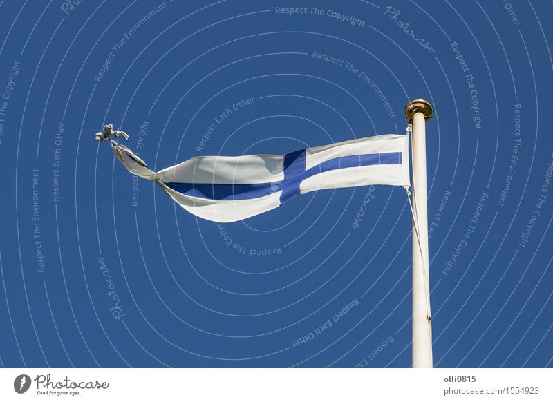 Finnish Flag Sky Blue Summer White Clouds Feasts & Celebrations Earth Wind Europe Symbols and metaphors Thin Flag Long Flagpole Blue sky Independence