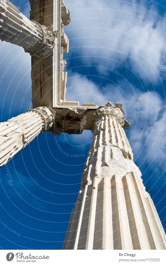 Ruined Columns of the Temple Old White Blue Vacation & Travel Clouds Travel photography Photography Historic Ancient Turkey Roman Anatolia Bergama