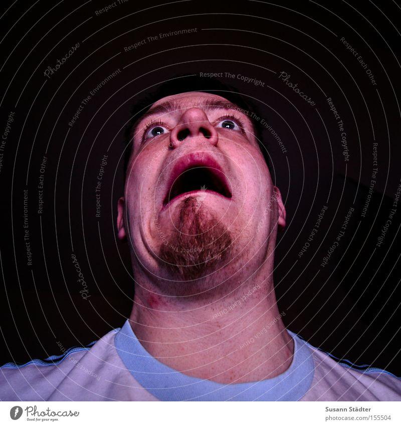 Man Blue Face Eyes Fear Crazy Facial hair Tension Neck Panic Nerviness Hallowe'en Nostril Broacaster Pimple