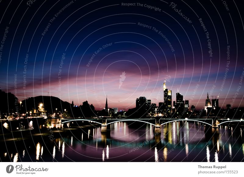 Frankfurt am Main Colour photo Exterior shot Deserted Copy Space top Evening Twilight Night Silhouette Reflection Tourism Water Clouds River bank Skyline