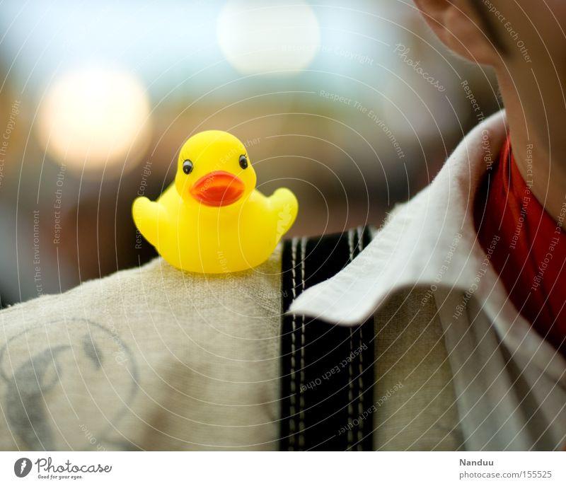 Yellow Bird Sit Decoration Cute Shirt Plastic Shoulder Duck Brash Squeak duck Toys Suspenders
