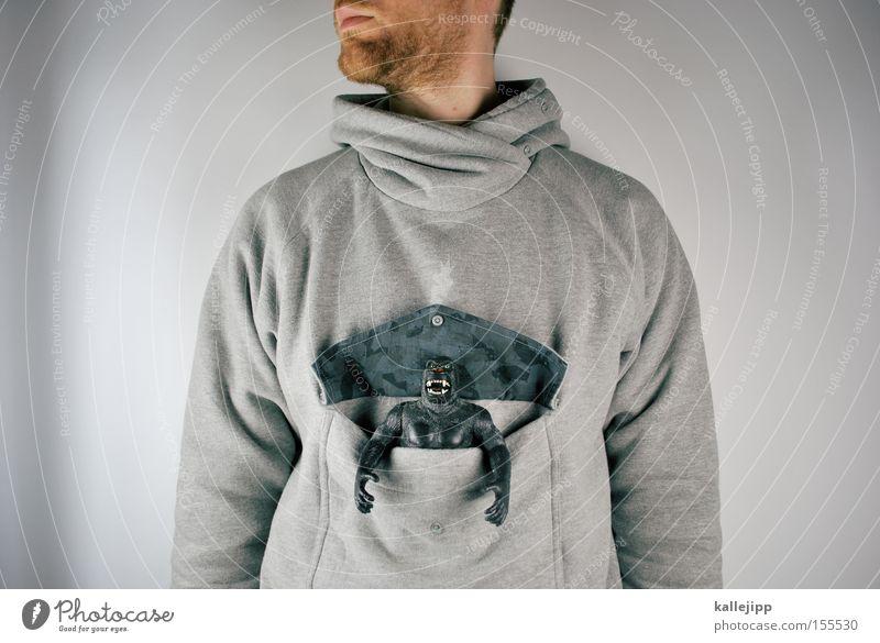 Human being Man Animal Gray Fashion Toys Facial hair Bag Monkeys Pouch Hormone Kangaroo