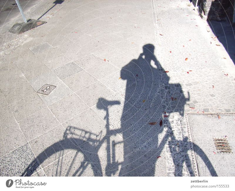 Photographed Shadow Bicycle Human being Photographer Take a photo Wheel Trip In transit Break Sidewalk Cycle path Playing Man Transport