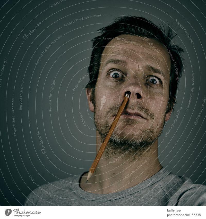 Human being Man Face Nose Crazy Study Academic studies Education University & College student Whimsical Management Pencil Pierce Nostril Internship Puristic