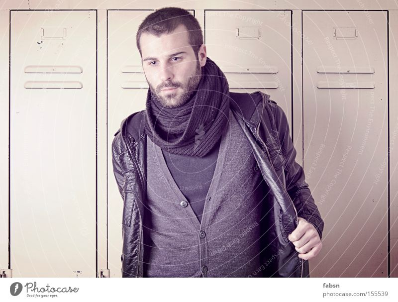 HAIR AM OVAL Looking Man Adults Fashion Jacket Scarf Think Grief Distress Transience Locker Cupboard Empty Thought Sadness