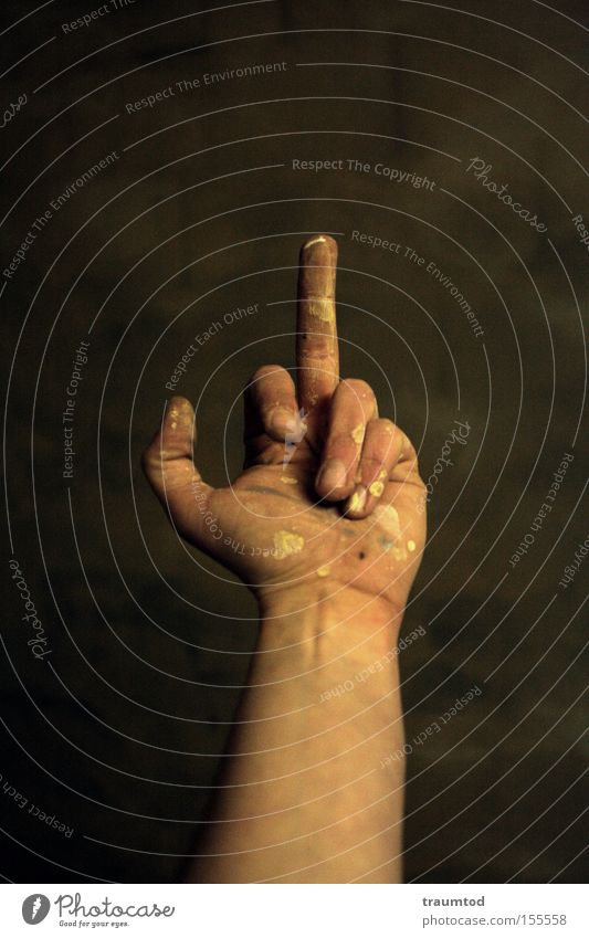Hand Colour Dirty Fingers Communicate Anger Patch Depth of field Aggravation Thumb Gesture Fist Joint Forefinger Middle finger Give the finger