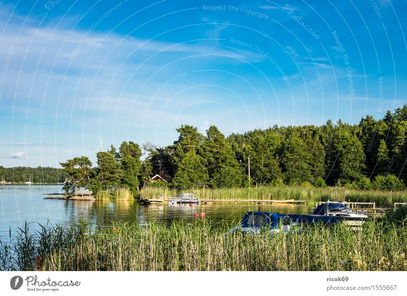 Nature Vacation & Travel Blue Green Tree Relaxation Landscape Clouds Coast Watercraft Tourism Island Baltic Sea Footbridge Jetty Skerry