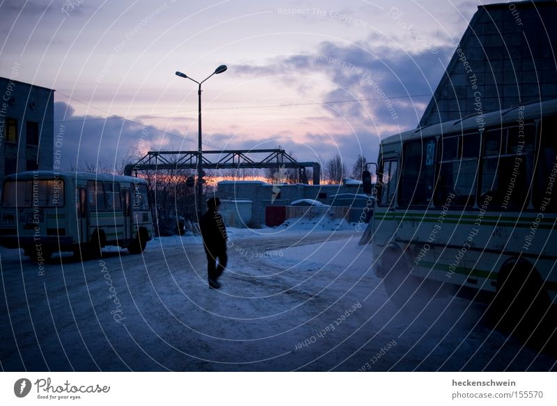 ZOB Winter Snow Clouds Train station Transport Public transit Car Bus Cold Motor vehicle Lantern Exhaust gas Russia one person Exterior shot Morning Twilight