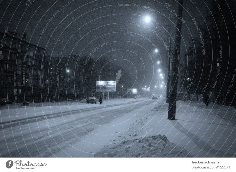 Tree City Winter House (Residential Structure) Loneliness Street Dark Cold Snow Window Car Night Motor vehicle Lantern Traffic infrastructure Russia