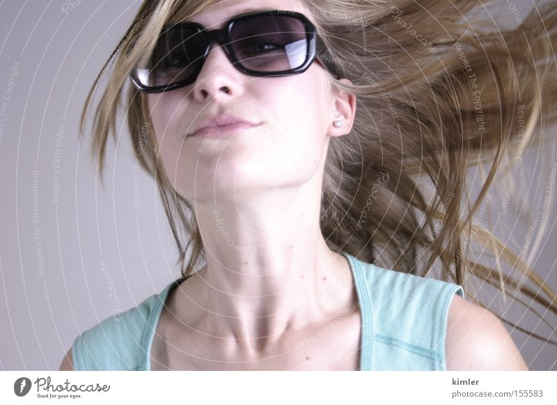 Beautiful Summer Eyeglasses Movement Laughter Hair and hairstyles Mouth Model Open Sunglasses Face Ease