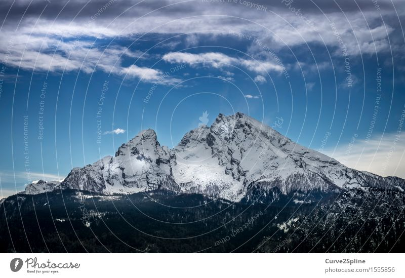 watzman Nature Elements Sky Clouds Winter Beautiful weather Ice Frost Snow Rock Mountain Peak Snowcapped peak Firm Far-off places Gigantic Natural Blue Gray