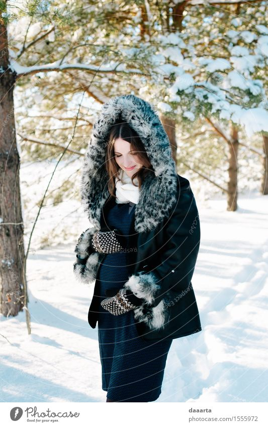 expecting in winter Nature Youth (Young adults) Young woman Tree Joy Winter Forest Adults Life Love Lifestyle Feminine Snow Style Garden Freedom