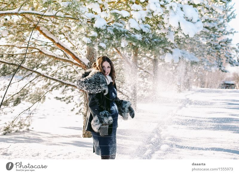happy mother Nature Youth (Young adults) Young woman Tree Landscape Joy Winter Adults Life Emotions Feminine Snow Style Lifestyle Playing Laughter