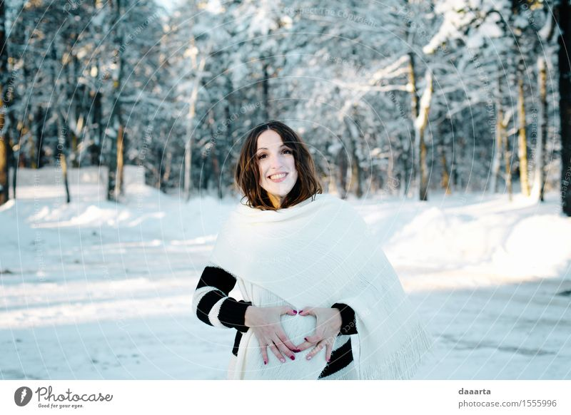 3 hearts Nature Youth (Young adults) Young woman Joy Winter Forest Adults Warmth Life Love Snow Feminine Style Lifestyle Family & Relations Garden