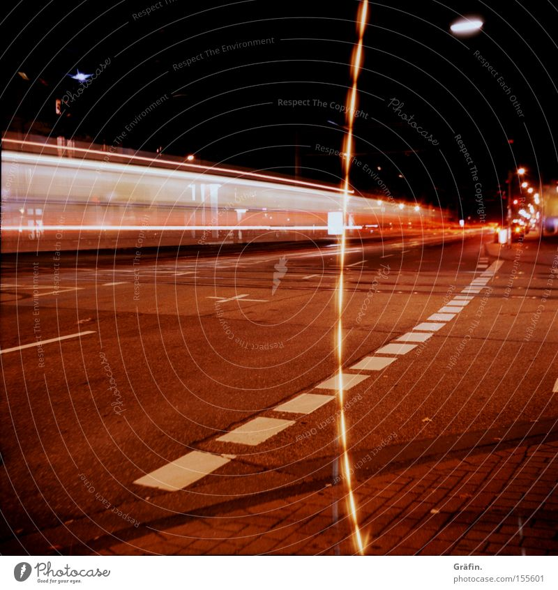 Street Movement Lighting Transport Speed Cologne Sidewalk Traffic infrastructure Tram Medium format Lane markings Strip of light