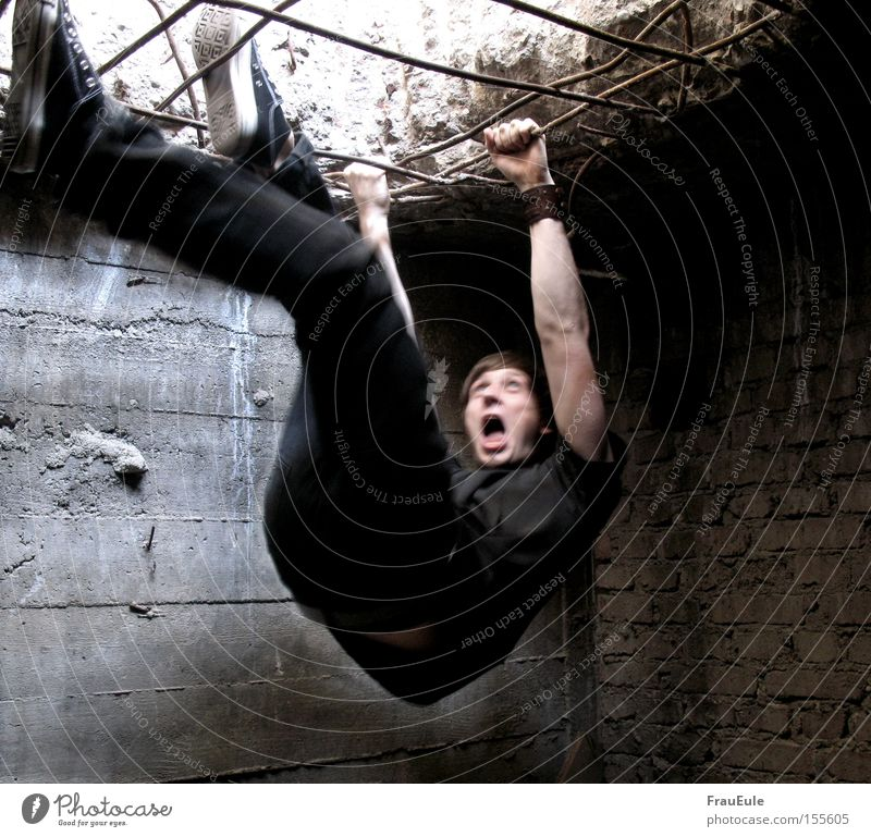Man Loneliness Fear Adults Climbing Scream Creepy Distress Captured Panic Mountaineering Feeble Rod Penitentiary Human being