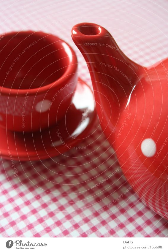 White Red Style Playing Retro Things Point Gastronomy Toys Café Crockery Cup Checkered Tablecloth Porcelain Children's game