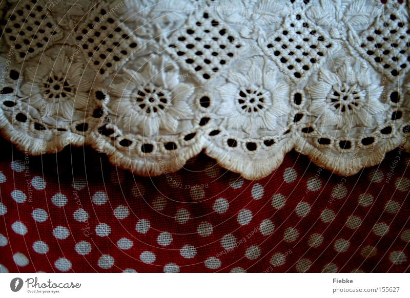 dots Point White Red Lace Frills Cloth Skirt Apron Flower Curtain Old fashioned Clothing Decoration