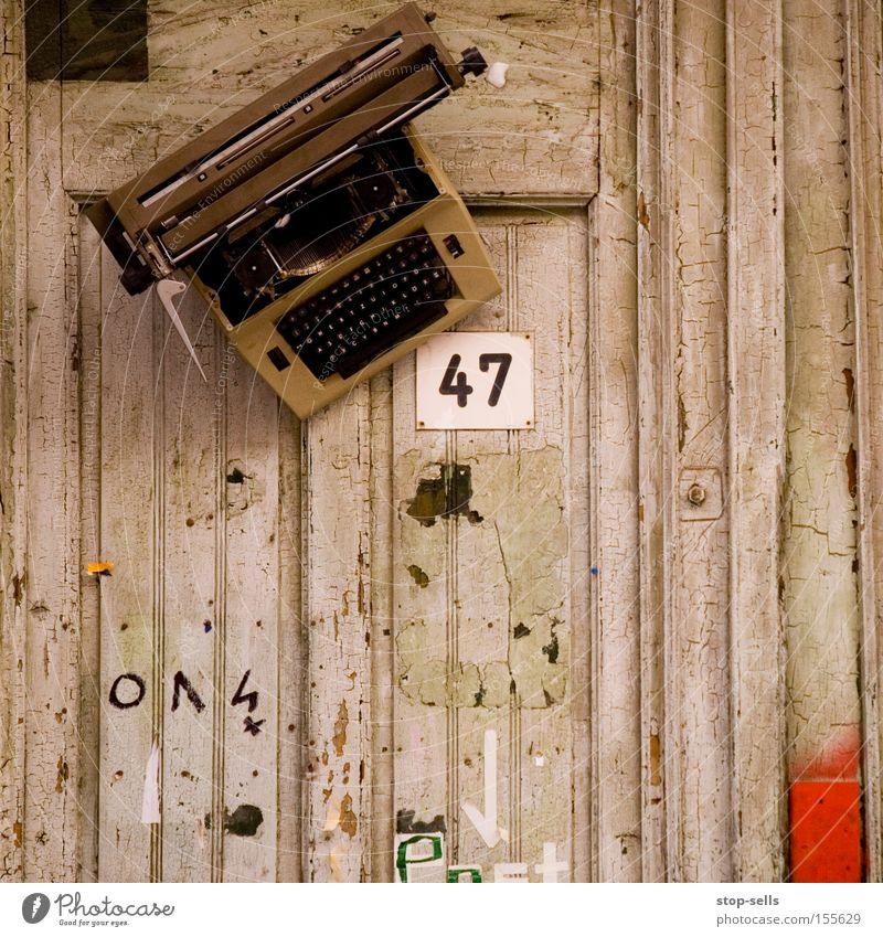 writing workshop Write Literature House number Typewriter Novel Wooden wall Letters (alphabet) Typing Art Culture 47 Writer conceptual art Front door