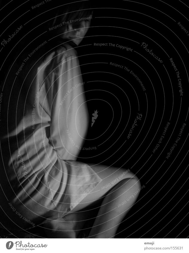 trapped in the dark Dark Shirt Woman Night dress Side Face Skin Black Gray Loneliness Grief Distress Black & white photo Profile Wrinkles