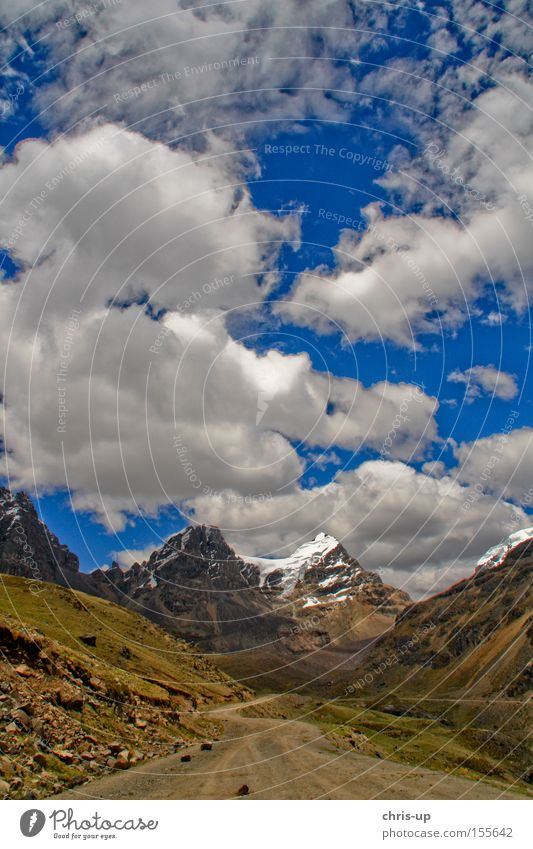Sky Clouds Street Snow Mountain Lanes & trails Landscape Rock Peak Traffic infrastructure South America Peru High plain Andes