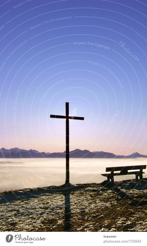 Sky Winter Colour Relaxation Mountain Landscape Art Fog Bench Alps Christian cross Peak Crucifix German Alps Christianity