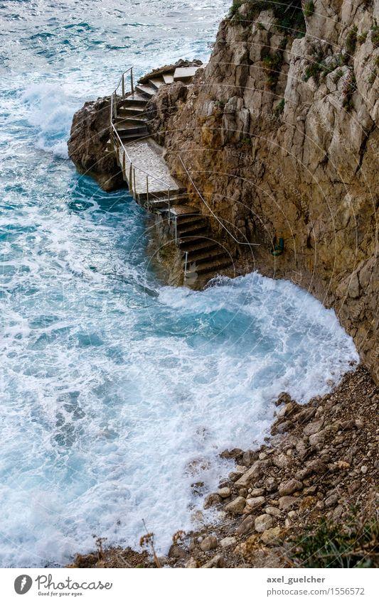 Coast in Monaco Harmonious Vacation & Travel Tourism Trip Adventure Summer Beach Ocean Waves Nature Landscape Water Wind Breathe Esthetic Firm Fluid Wet Blue