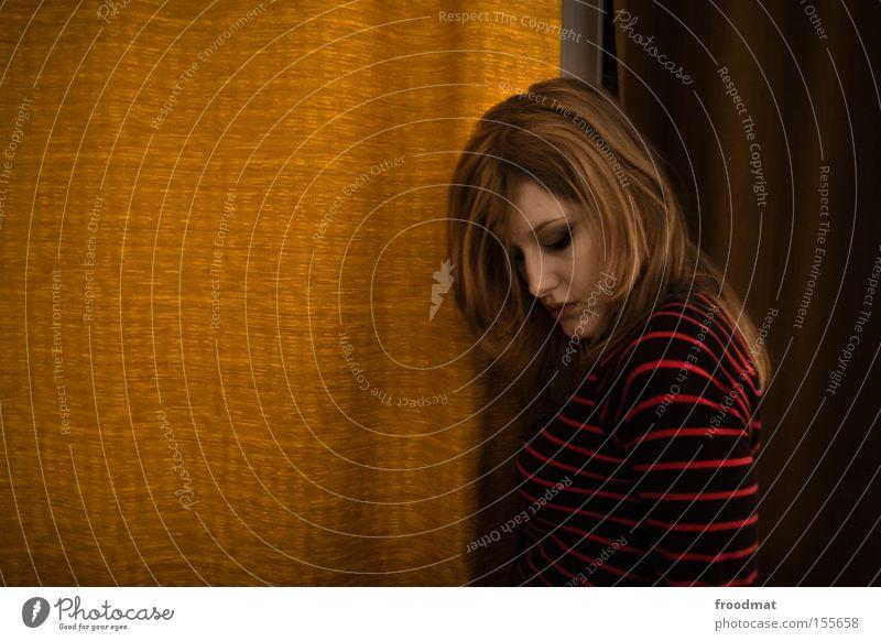Woman Beautiful Style Blonde Design Retro Decoration Boredom Drape Curtain Timidity Striped Sheepish Reduced