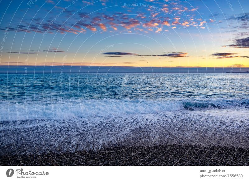 Nice Sunset in Nice Vacation & Travel Tourism Trip Adventure Far-off places Freedom Summer Summer vacation Beach Ocean Waves Nature Landscape Water Sky Clouds