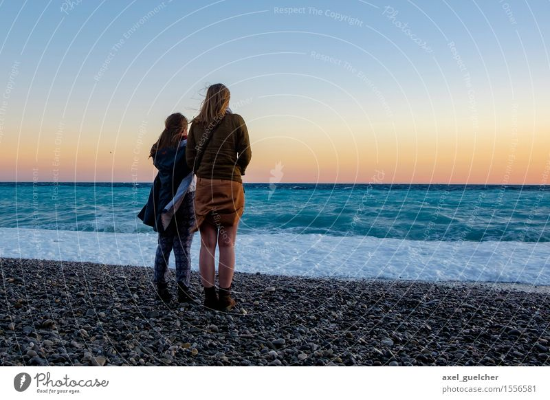 Sunset Together Feminine Young woman Youth (Young adults) Couple 2 Human being 18 - 30 years Adults Nature Landscape Water Sky Sunrise Beautiful weather Wind