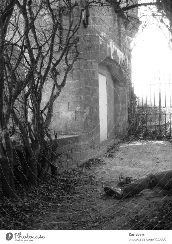 Fin de siècle Man Adults Legs Nature Bushes Garden Park Old town Ruin Architecture Wall (barrier) Wall (building) Lie Esthetic Authentic Dark Creepy Cold Death