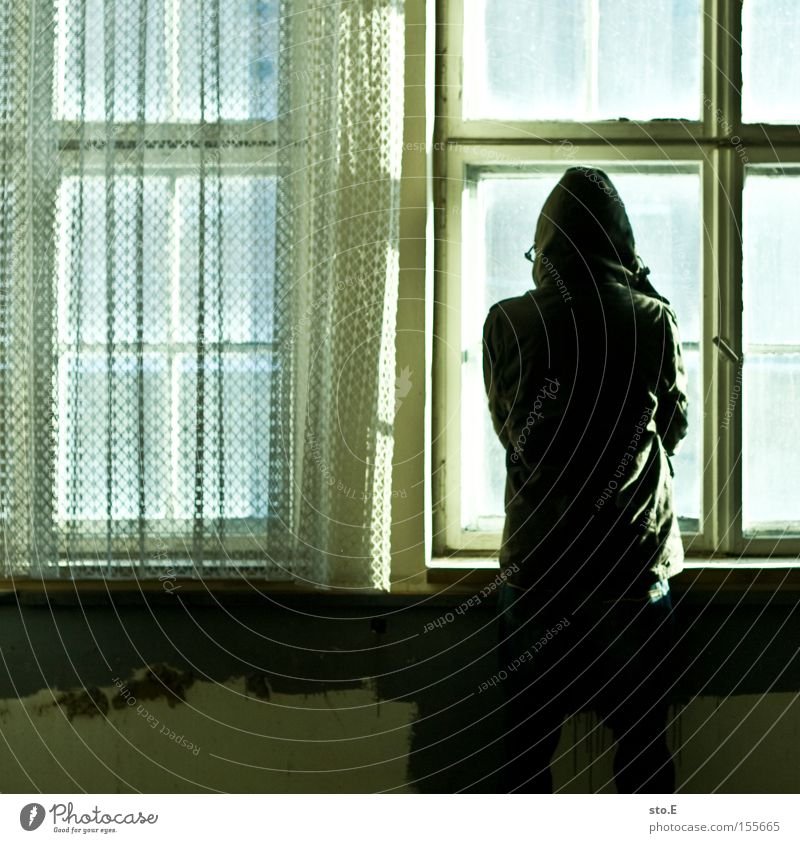 the opposite Human being Window Glass Window pane Slice Derelict Shabby Dirty Drape Opposite Vantage point Looking Observe Fear Panic Loneliness
