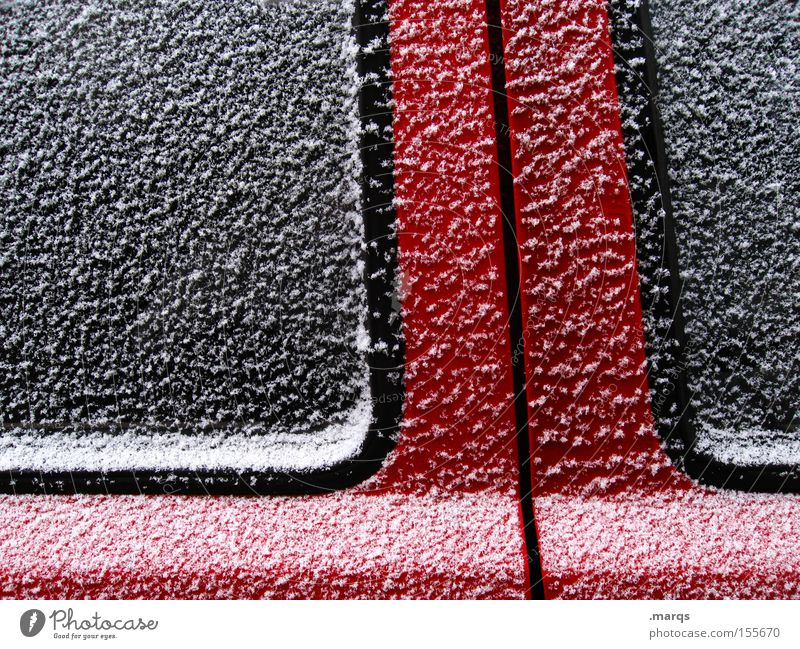 White Red Black Cold Snow Ice Line Metal Glass Door Design Esthetic Cool (slang) Frost Stripe Exceptional