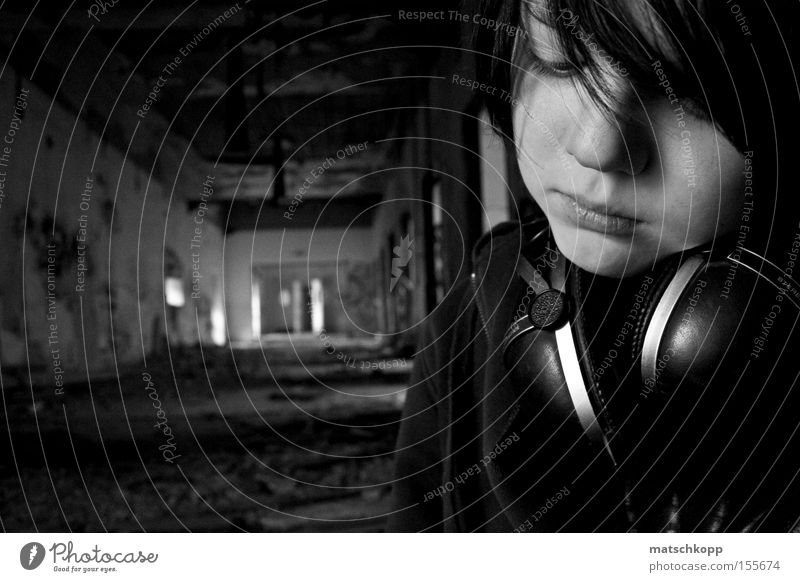 Melancholy of a Twelve Year Old Puberty Loneliness Thought Think Black & white photo Decline Ruin Portrait photograph Grief Doomed Headphones Facial expression