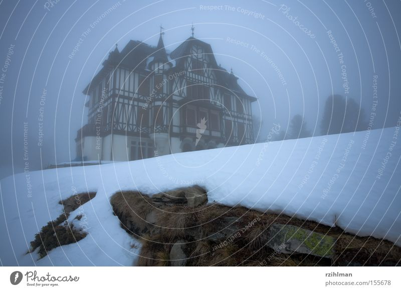 Villa Cassel Riederalp Fog Gray Cold Snow Eerie Ghostly Historic nature conservation centre villa building Spooky