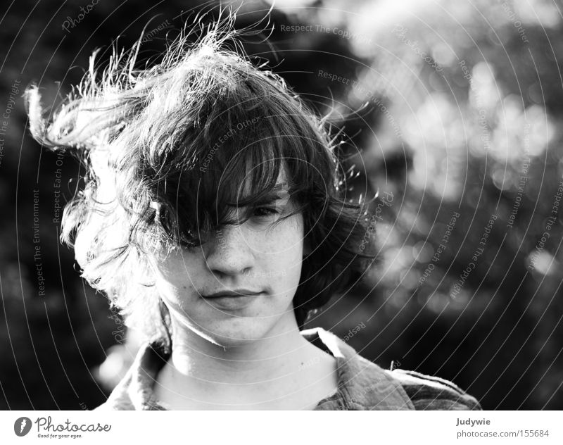 feeling of freedom Youth (Young adults) Hair and hairstyles Black & white photo White Summer Wild Wind Face Freedom Strong Freckles Curl potrait